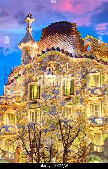 Casa Batllo house design by Antonio Gaudi, Barcelona, Catalonia, Spain - Stock Image
