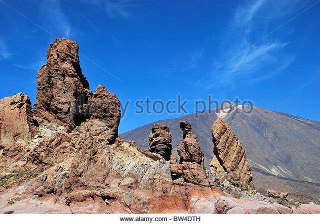 Roques de Garcia. Rock Formation in Mount Teide. Tenerife. Canary Islands. Spain - Stock Image
