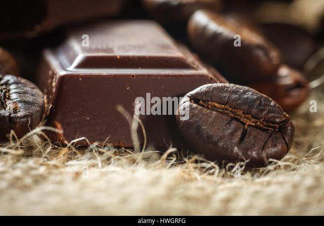 Close up of chocolate and coffee beans, shallow dof - Stock Image