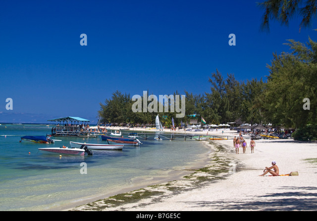 Beach of Club Med at La Pointe aux Canonniers at north east coast Mauritius Africa - Stock Image