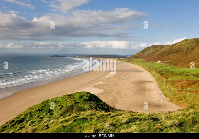 United Kingdom, Wales, Glamorgan, Gower Peninsula, Rhossilli Bay - Stock Image