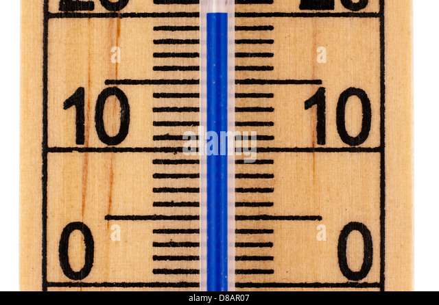 Straight close up an old fashioned Mercury room thermometer in Celsius scale - Stock Image