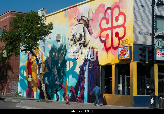 Plateau Mont Royal street scene Montreal - Stock Image