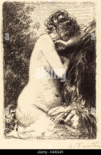 Henri Fantin-Latour, French (1836-1904), Weeper: Study of a Nude Woman, Seated with Profile to Right, 1899, lithograph - Stock-Bilder