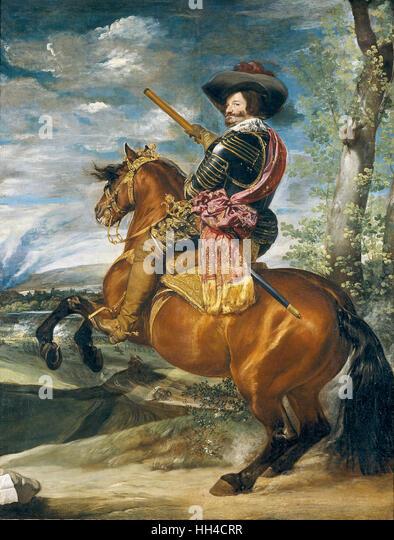 Count-Duke Olivares, by Diego Velázquez. Gaspar de Guzmán, Count-Duke of Olivares Equestrian Portrait - Stock-Bilder