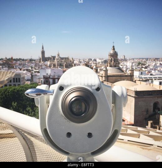 Spain, Seville, Tourist binoculars - Stock Image