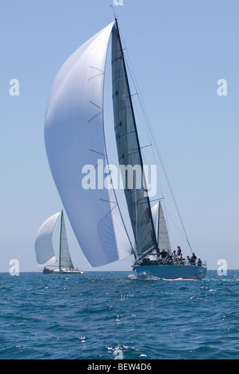 Yachts compete in team sailing event, California - Stock Image