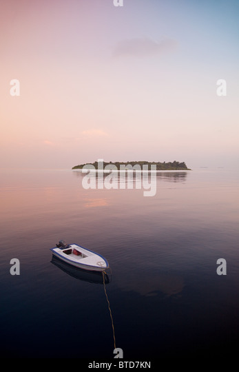 Boat on the sea, Havodigalaa Island, South Huvadhu Atoll, Maldives - Stock Image