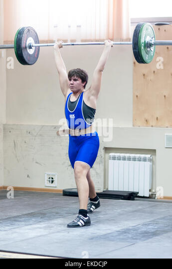 ORENBURG, ORENBURG region, RUSSIA, February 2, 2014 year, Orenburg oblast Championship weightlifting - Stock Image