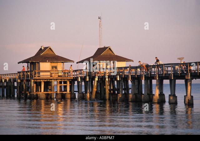 Florida Naples Pier fishing - Stock Image