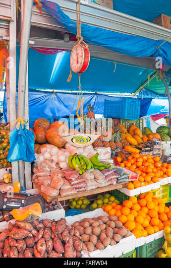 Floating Market stocked with produce and fruits from Venezuela, Willemstad Curacao - Stock Image
