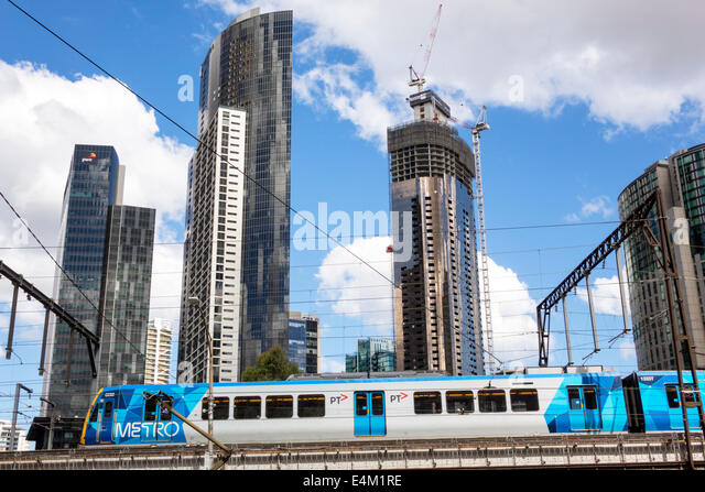 Melbourne Australia Victoria Central Business District CBD Flinders Street Metro Trains Rail Network train public - Stock Image