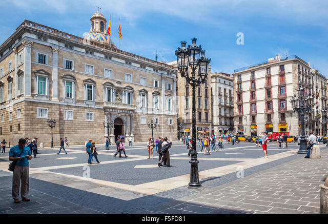Spain, Catalonia, Barcelona, Ciutat Vella, Barri Gòtic, Palace of Generalitat of Catalonia at Plaça de - Stock Image