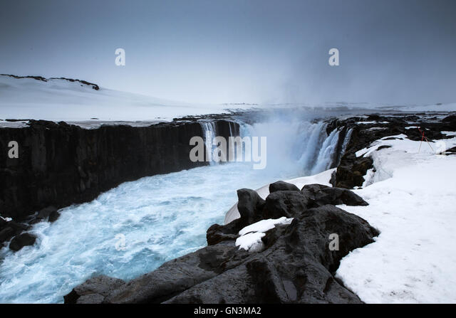 Godafoss, Waterfall, Iceland Landscapes - Stock Image