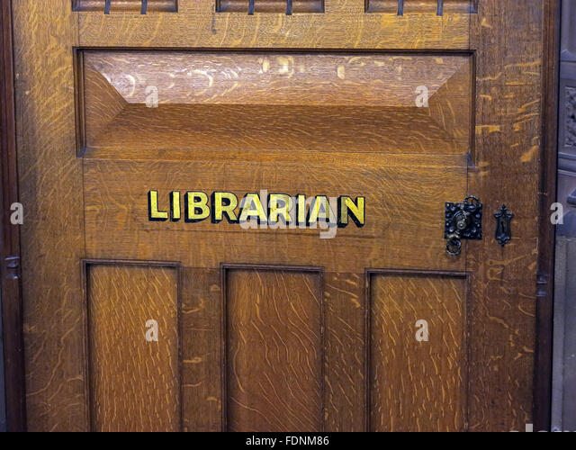 John Rylands Library Interior,Deansgate,Manchester,England,UK - Close up of Librarians door - Stock Image