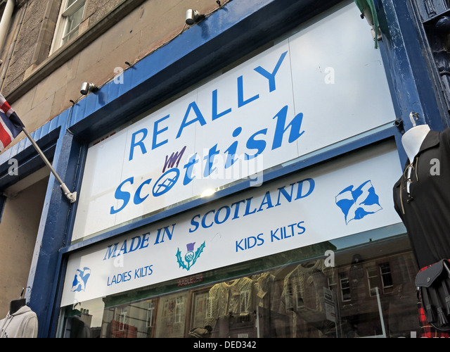 Really Scottish kilts Edinburgh Scotland - Stock Image