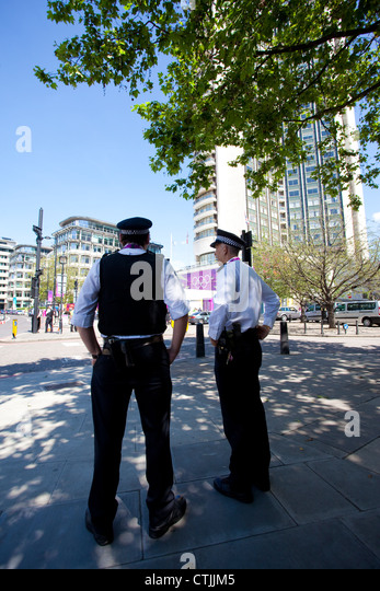 Olympic security surrounding the Hilton on Park Lane London, where the International Olympic Committee stay during - Stock Image