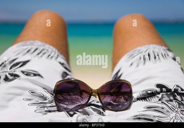 View of Amadores Beach in the south of Gran Canaria from a sunbather's perspective - Stock Image