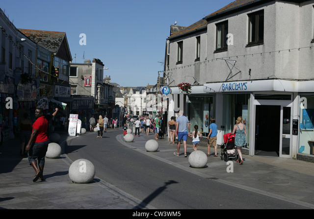 newquay town centre/street scene - Stock Image
