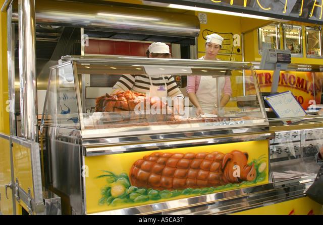 Porchetta for sale at a weekly market in Ascoli Piceno .Le Marche ,Italy - Stock Image