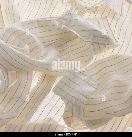 mens white striped shirt - Stock Image