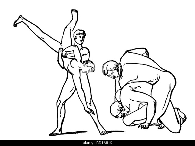 The pancratium (Greek pancration) was a combination of boxing and wrestling in ancient Greek gymnastics. - Stock Image