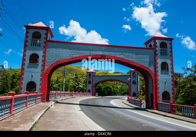 Twin stone arches in the Spanish Bridge, Umatac, Guam, US Territory, Central Pacific, Pacific - Stock Image
