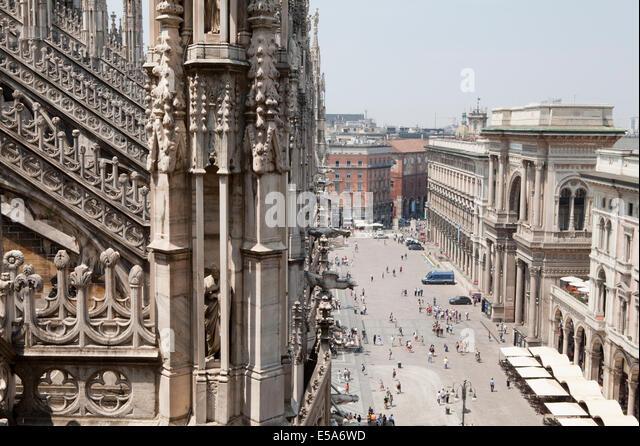 The Vittorio Emanuele II shopping mall (Galleria Vittorio Emanuele II) in Milan from the roof of the Duomo - Stock Image