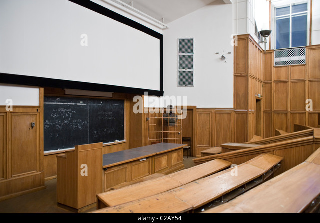 Russia, Moscow, empty lecture hall in Moscow State University - Stock-Bilder