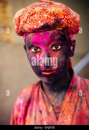 Holi Festival Celebrations in Mathura, Braj, Uttar Pradesh, India, Asia - Stock Image