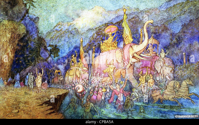 he return of the heroes slain in battle at night, following the great sage Viyasa telling all to bathe in the Ganges. - Stock Image