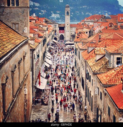 Croatia, Dubrovnik, Street full of people - Stock Image