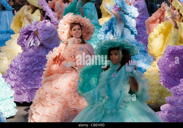 The Mobile Azalea Trail Maids perform during the 2011 Macy's Thanksgiving Day Parade in New York City. - Stock Image