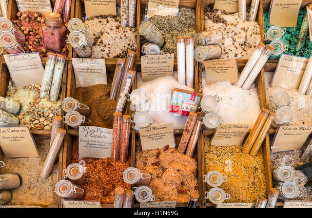Salt and Spices, Market Stall, Vieux Nice, Cours Saleya,  Alpes Maritimes, Provence, French Riviera, Mediterranean, - Stock Image