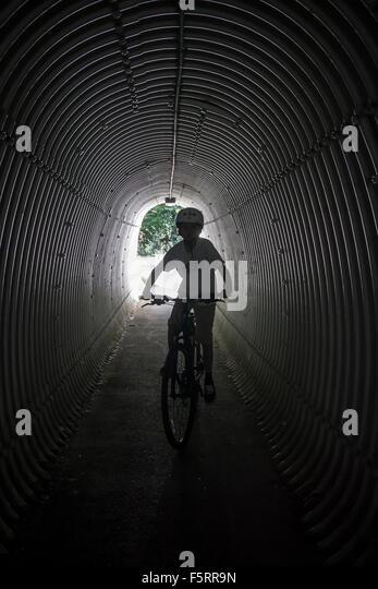 Sweden, Vastergotland, Lerum, Portrait of boy (10-11) on bicycle - Stock Image