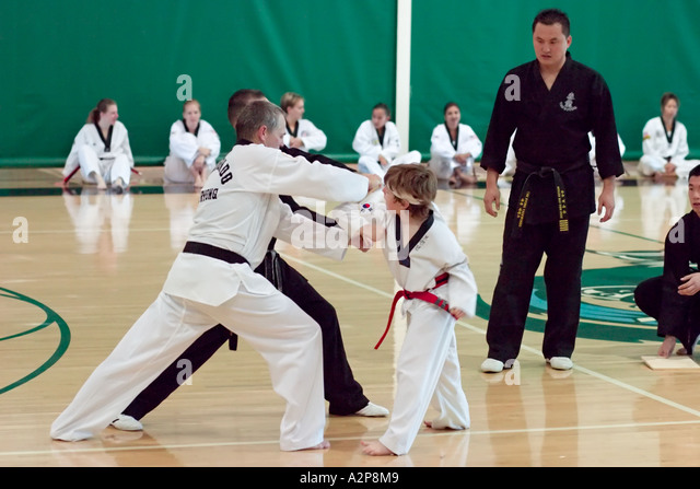 A young boy breaks a wood board with a powerful elbow strike during Tae Kwon Do black belt testing. - Stock Image