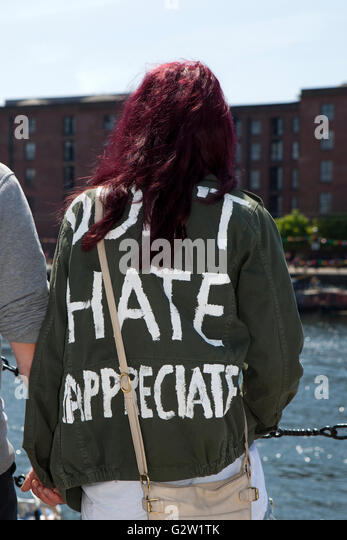 Do Not Hate but Appreciate, Slogan on T shirt at Albert Dock, Liverpool, Merseyside, UK - Stock Image