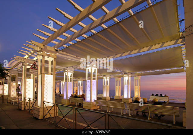 France Nice Promenade des Anglais Pavillon sunset people - Stock Image