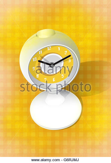 Retro globe clock with gingham background and  illustration - Stock Image