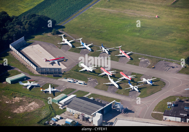 The Netherlands, Hoogerheide, Airport Woensdrecht. Dismantling site for Fokker airplanes.. Aerial. - Stock Image
