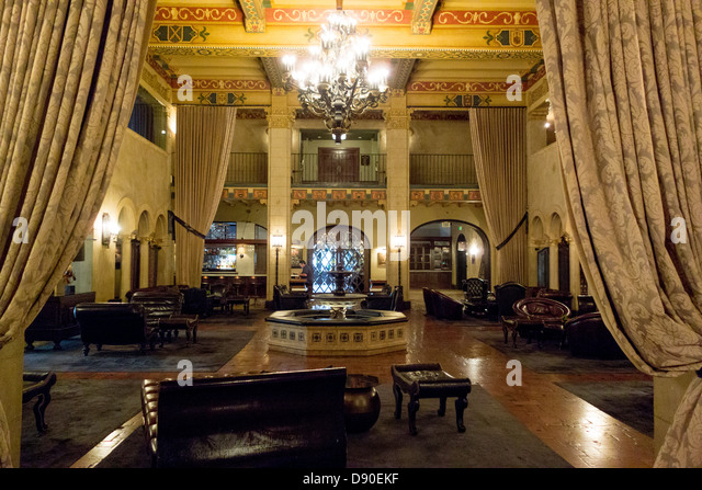 Lobby of historic Hollywood Roosevelt Hotel on Hollywood Boulevard in Los Angeles California - Stock Image