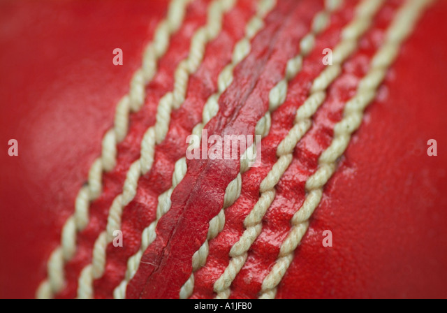 cricket ball detail - Stock Image