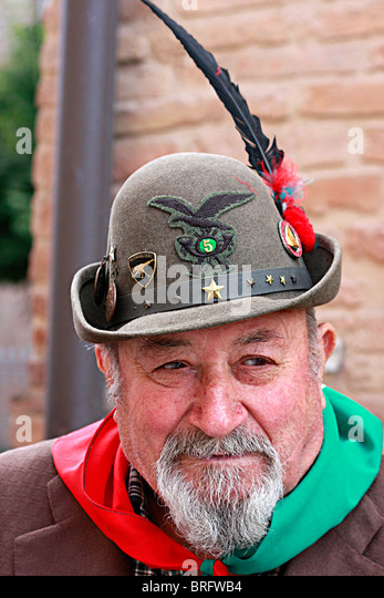 Italian man,member of the famous,historic,Alpini Military Unit at the annual parade held in 2010 in Amandola ,Le - Stock Image