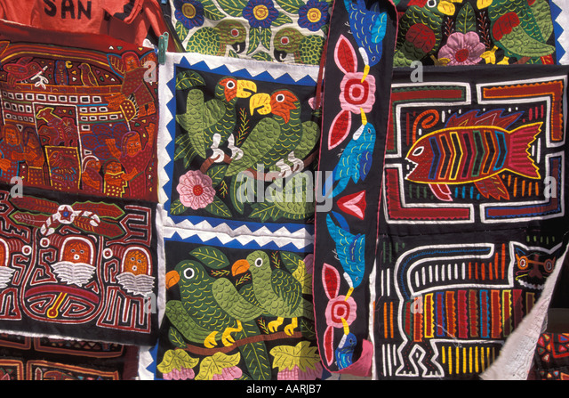 Panama San Blas Islands Cuna Indians Molas for sale - Stock Image