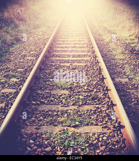 Vintage filtered picture of railway tracks. - Stock Image