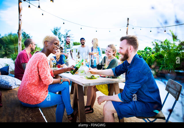 Diverse Beach Summer Party Roof Top Fun Concept - Stock Image