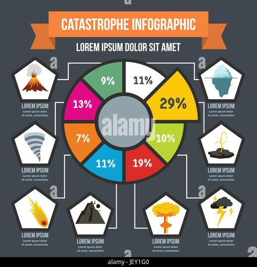Catastrophe infographic concept, flat style - Stock Image