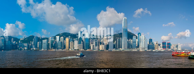 Skyline of Central, Hong Kong Island, from Victoria Harbour, Hong Kong, China, Asia - Stock Image