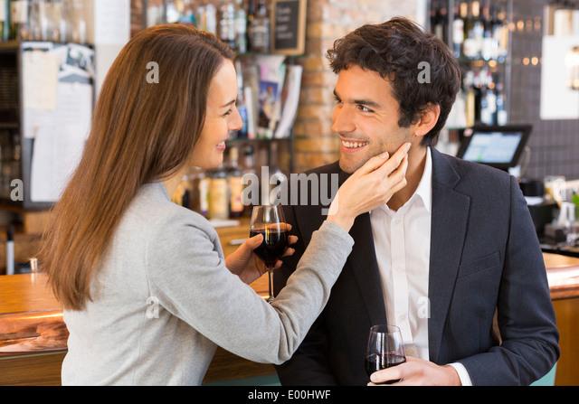 Woman man cheerful lover drinking bar coffee - Stock Image