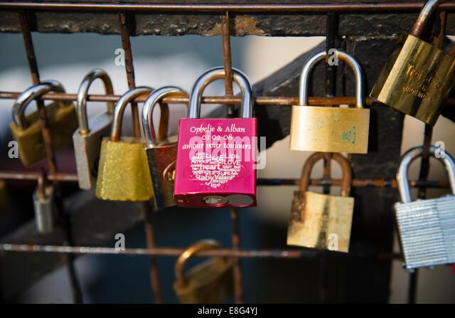 Padlock, Love token, Romance - Stock Image